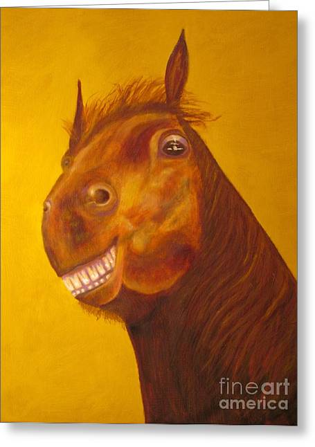 Animal Art Greeting Cards - Happy Smiling Horse - Original Oil Painting Greeting Card by Anthony Morretta