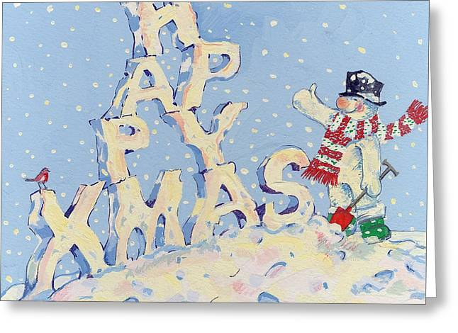 Happy Snowman Greeting Card by David Cooke