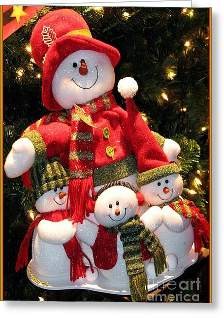 Happy Snowman Family Greeting Card by Chris Anderson