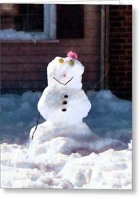 Suburban Greeting Cards - Happy Snowman Greeting Card by Susan Savad