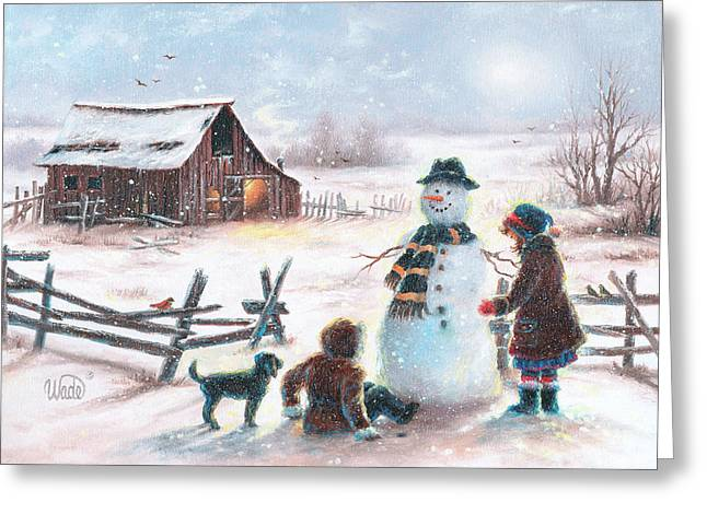 Vickie Wade Paintings Greeting Cards - Happy Snowman Snow Play Greeting Card by Vickie Wade