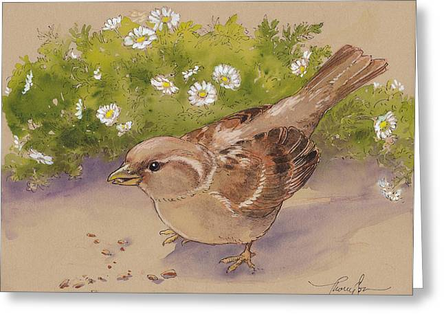 Sparrow Paintings Greeting Cards - Happy Sparrow 5 Greeting Card by Tracie Thompson
