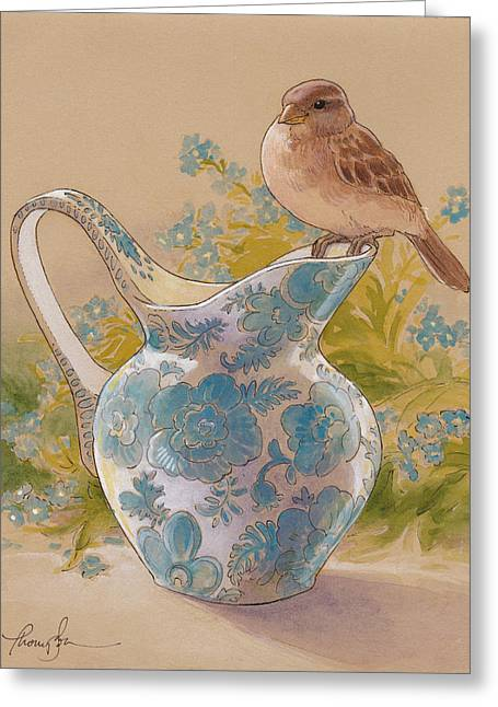 Brown Birds Greeting Cards - Happy Sparrow 6 Greeting Card by Tracie Thompson