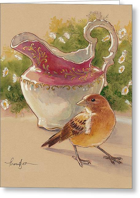 Happy Sparrow 7 Greeting Card by Tracie Thompson
