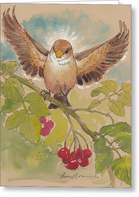 Little Mixed Media Greeting Cards - Happy Sparrow Number Four Greeting Card by Tracie Thompson