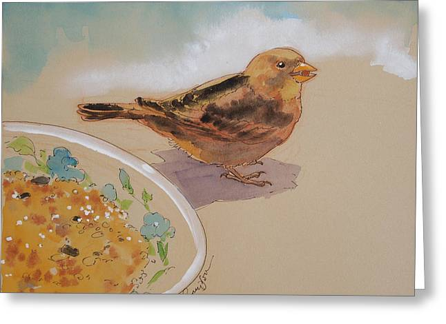 Small Bird Greeting Cards - Happy Sparrow Two Greeting Card by Tracie Thompson