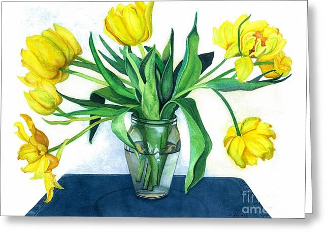 Glass Vase Greeting Cards - Happy Spring Greeting Card by Barbara Jewell