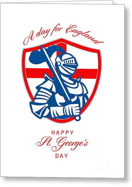 Brandishing Greeting Cards - Happy St George A Day for England Greeting Card Greeting Card by Aloysius Patrimonio