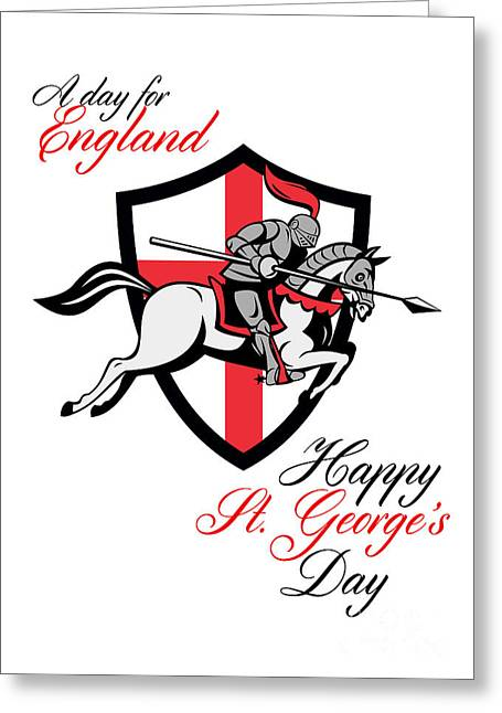 Brandishing Greeting Cards - Happy St George Day A Day For England Retro Poster Greeting Card by Aloysius Patrimonio