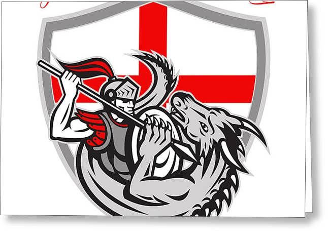 Happy St George Stand Tall Proud to be English Retro Poster Greeting Card by Aloysius Patrimonio