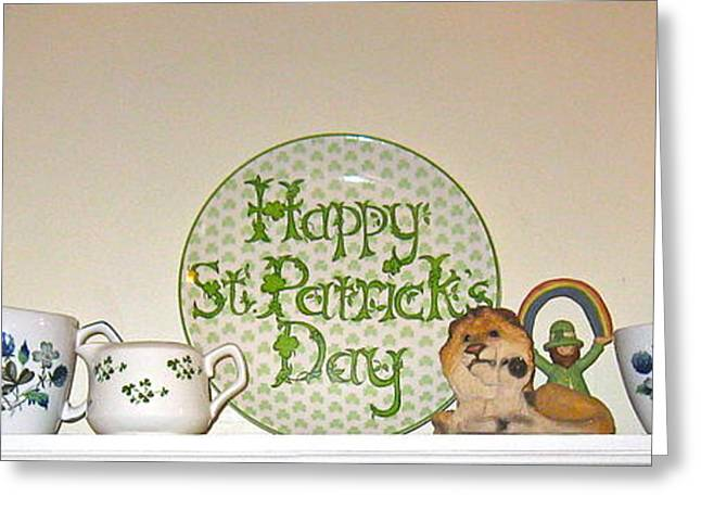 Lion And Lamb Greeting Cards - Happy St Patricks Day  Greeting Card by Nancy Patterson