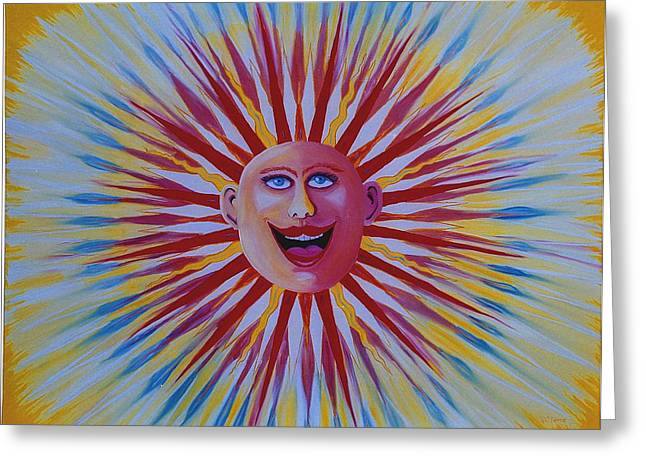Prisma Colored Pencil Paintings Greeting Cards - Happy Sun Greeting Card by Ru Tover