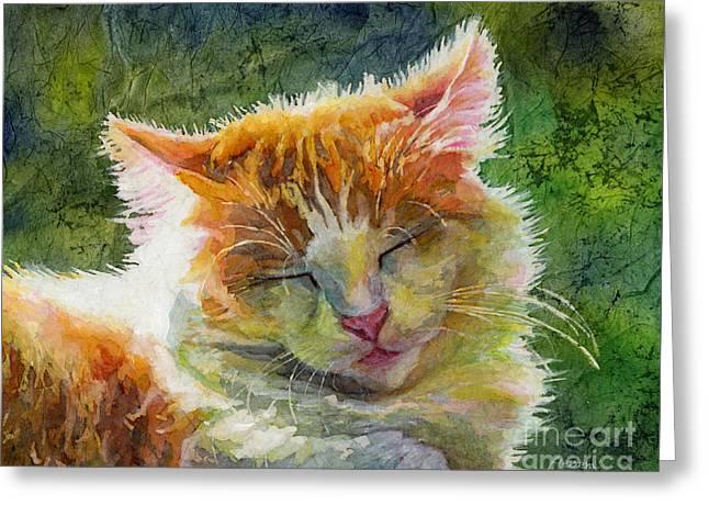 Cute Kitten Art Greeting Cards - Happy Sunbathing 2 Greeting Card by Hailey E Herrera