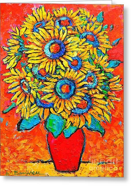 Abstract Expression Greeting Cards - Happy Sunflowers Greeting Card by Ana Maria Edulescu