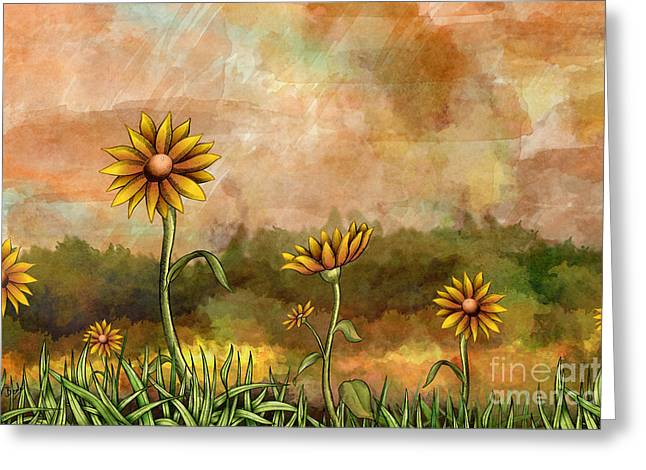 Bedros Awak Greeting Cards - Happy Sunflowers Greeting Card by Bedros Awak