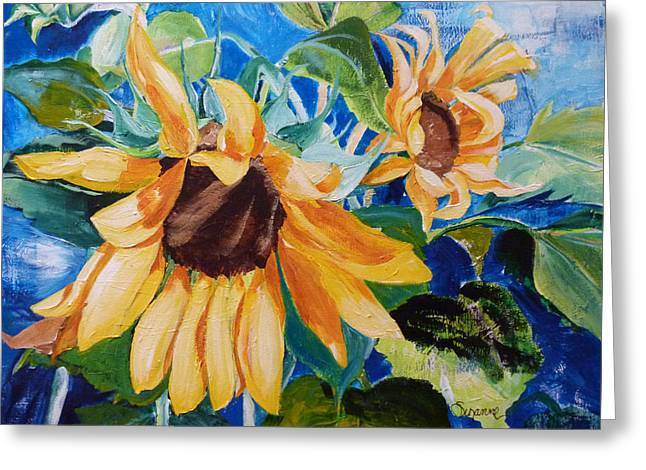 Suzanne Willis Greeting Cards - Happy Sunflowers Greeting Card by Suzanne Willis