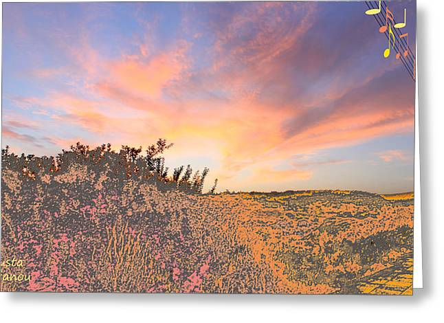 Happy Sunset Greeting Card by Augusta Stylianou