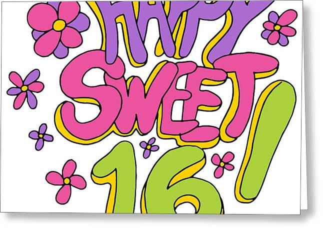 Sixteen Year Old Greeting Cards - Happy Sweet Sixteen Greeting Card by John Takai