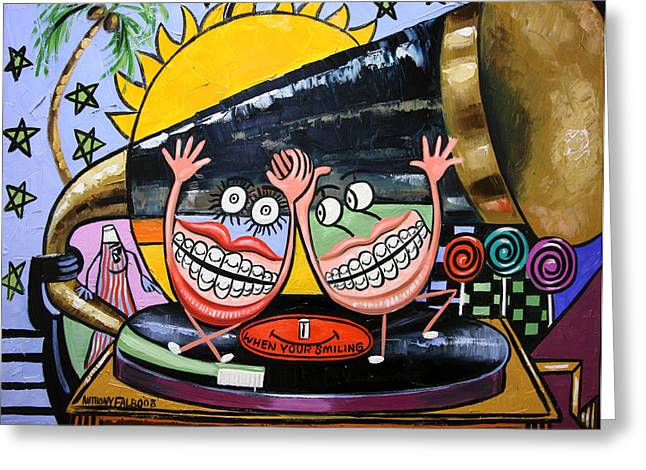 Cubist Digital Art Greeting Cards - Happy Teeth When Your Smiling Greeting Card by Anthony Falbo