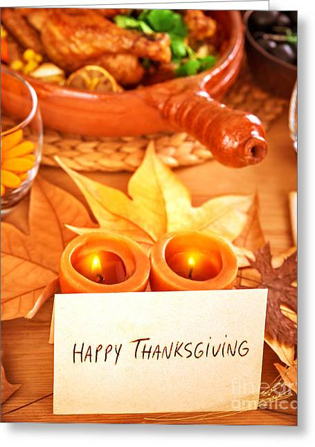 Dinner Party Invitation Greeting Cards - Happy Thanksgiving Greeting Card by Anna Omelchenko