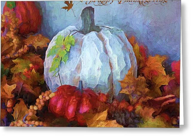 """indoor"" Still Life Digital Art Greeting Cards - Happy Thanksgiving - Seasonal Art Greeting Card by Jordan Blackstone"