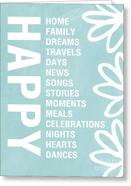 Houses Greeting Cards - Happy Things Blue Greeting Card by Linda Woods
