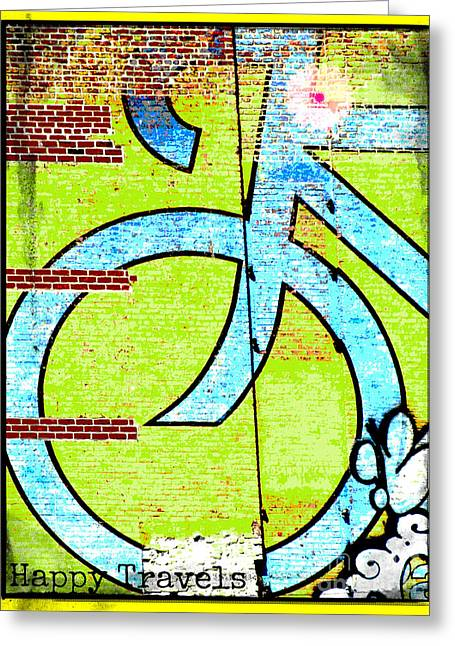 Wall Licensing Greeting Cards - Happy Travels Bicycle Greeting Card by adspice Studios