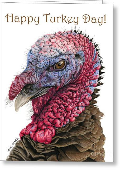 Wattle Greeting Cards - Happy Turkey Day Greeting Card by Sarah Batalka