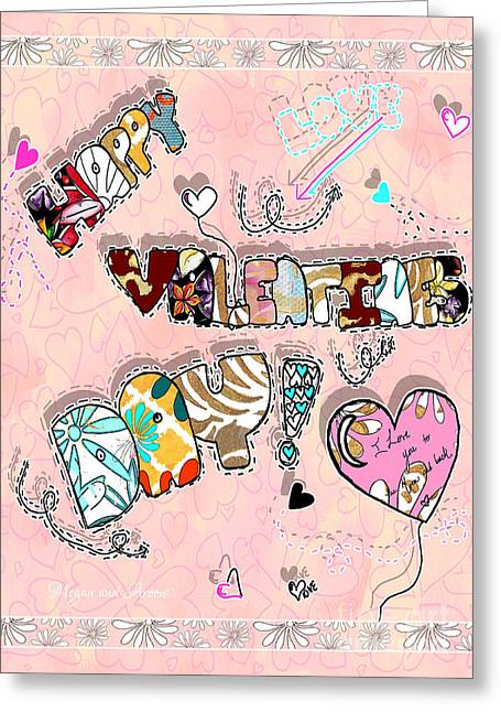 Licensor Mixed Media Greeting Cards - Happy Valentines Day Fun Word Art by Megan and Aroon Greeting Card by Megan Duncanson