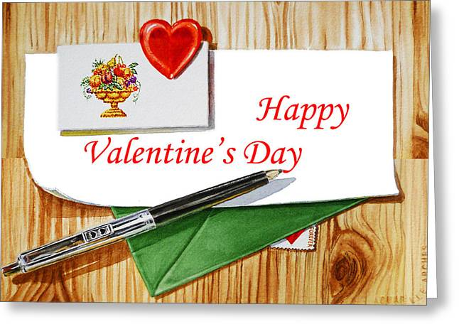 The Love Letter Greeting Cards - Happy Valentines Day Greeting Card by Irina Sztukowski