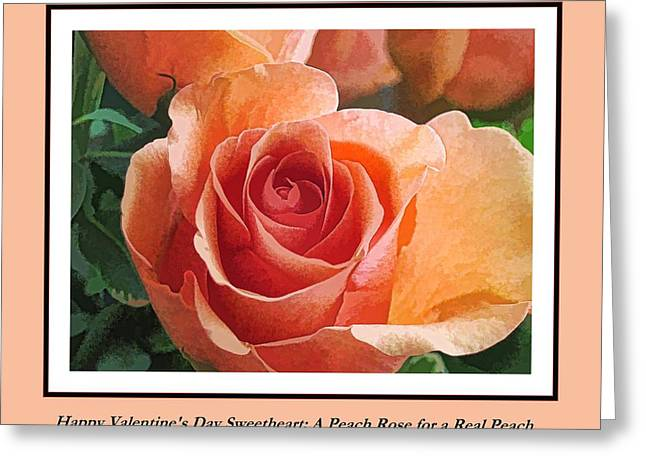 Photograph Of Peaches Greeting Cards - Happy Valentines Day Peach Rose Greeting Card by Doug Morgan