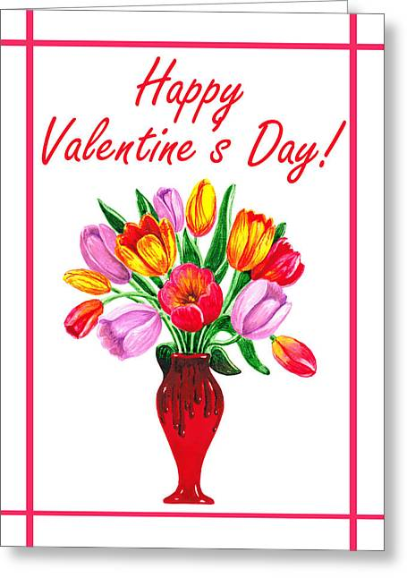 Happy Valentines Tulip Bouquet Greeting Card by Irina Sztukowski