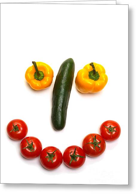 Metaphor Greeting Cards - Happy Veggie Face Greeting Card by Olivier Le Queinec