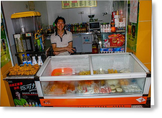 Take-out Greeting Cards - Happy Vendor Greeting Card by Robert Hebert