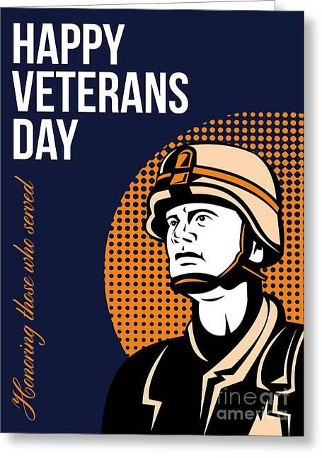 Serviceman Greeting Cards - Happy Veterans Day Serviceman Greeting Card Greeting Card by Aloysius Patrimonio