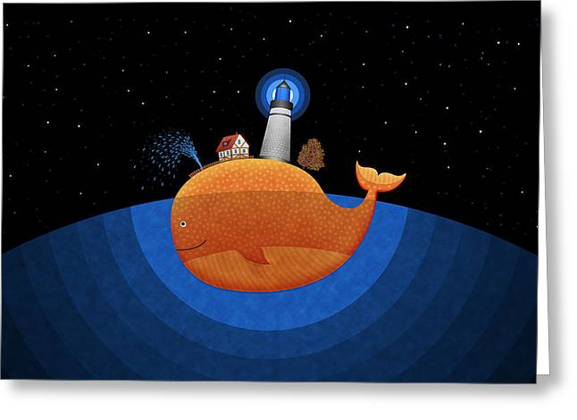 Amazing Digital Art Greeting Cards - Happy Whale House Greeting Card by Gianfranco Weiss