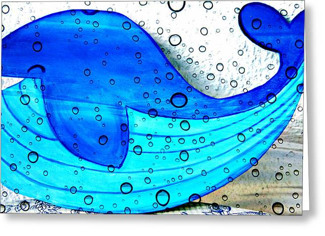 Ocean Mammals Mixed Media Greeting Cards - Happy Whale Greeting Card by Jo Ann