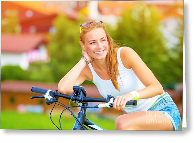 Pushbike Greeting Cards - Happy woman on the bicycle Greeting Card by Anna Omelchenko