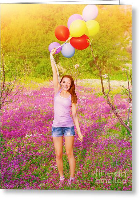Happy Woman With Colorful Balloons Greeting Card by Anna Omelchenko