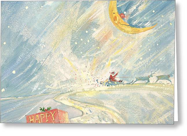 Nicholas Greeting Cards - Happy Xmas Gouache Greeting Card by David Cooke