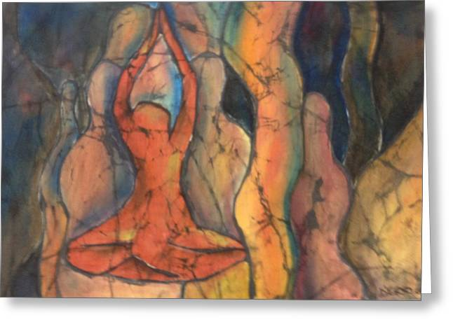 Meditation Tapestries - Textiles Greeting Cards - Happy Yoga Greeting Card by Peggy D