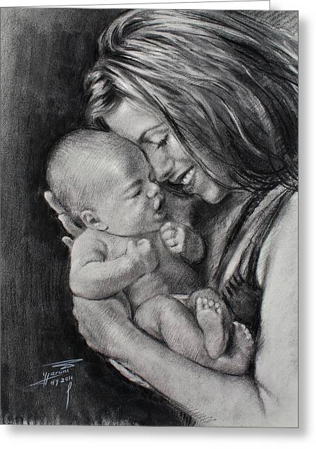 Young Pastels Greeting Cards - Happy Young Mother Greeting Card by Ylli Haruni