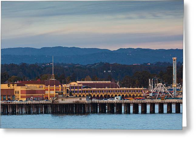 Non Urban Scene Greeting Cards - Harbor And Municipal Wharf At Dusk Greeting Card by Panoramic Images