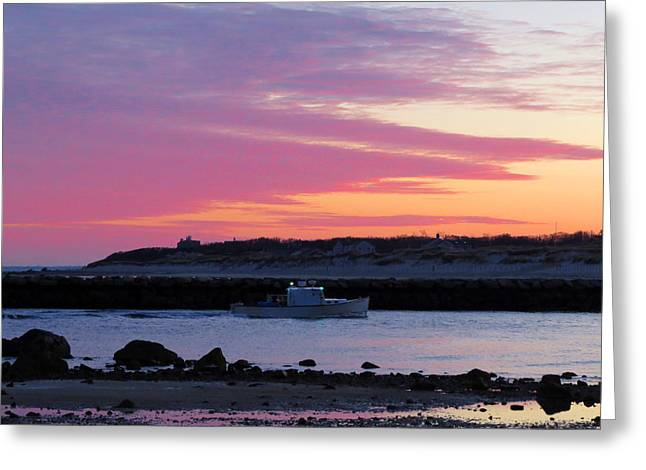 Harbor Sesuit Harbor Greeting Cards - Harbor at Dawn Greeting Card by Dianne Cowen
