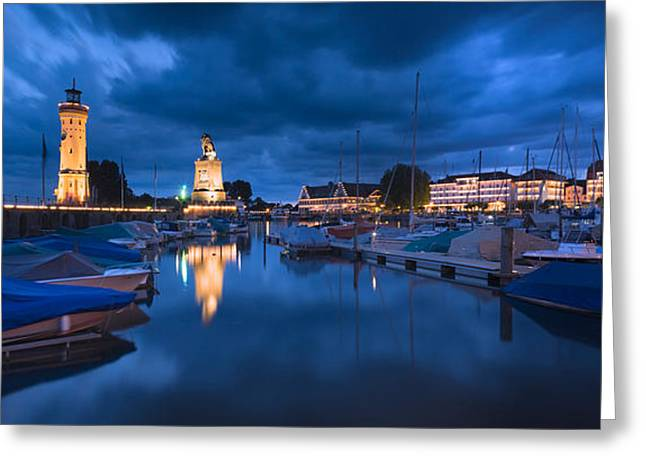 Lake Constance Greeting Cards - Harbor At Dusk, Lindau, Lake Constance Greeting Card by Panoramic Images