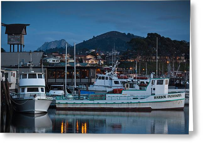 Morro Bay Greeting Cards - Harbor At Dusk, Morro Bay, California Greeting Card by Panoramic Images