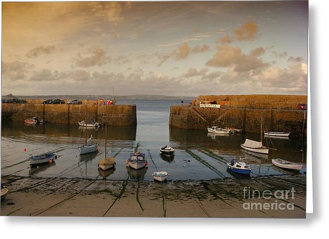 Fishing House Greeting Cards - Harbor at dusk Greeting Card by Pixel Chimp