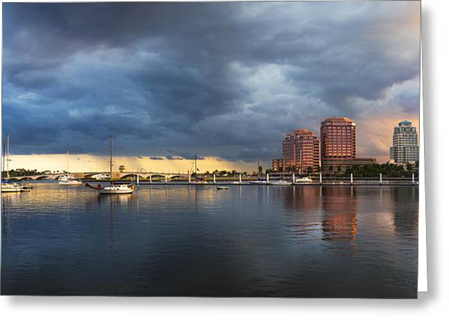 Sailboats At The Dock Greeting Cards - Harbor at West Palm Beach Greeting Card by Debra and Dave Vanderlaan