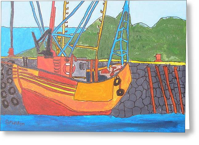 Brandon Drucker Greeting Cards - Harbor Boat Greeting Card by Brandon Drucker