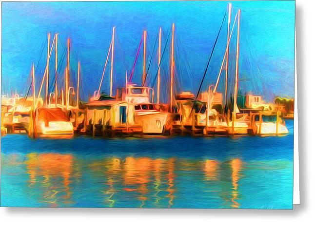 Sailboats In Water Greeting Cards - Harbor Boats Painterly Greeting Card by Clare VanderVeen
